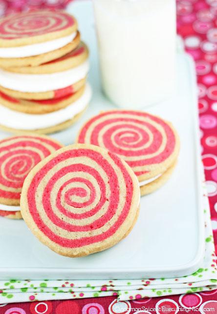 Peppermint Pinwheel Sandwich Cookies