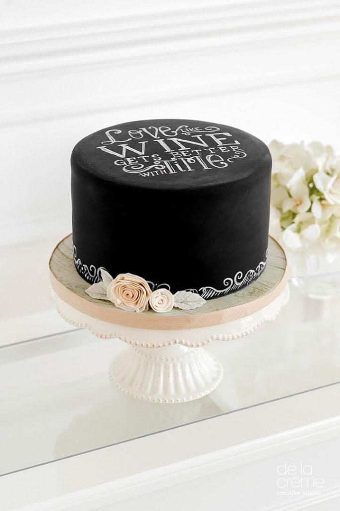 Gorgeous Black Board Inspired Cake By De La Creme