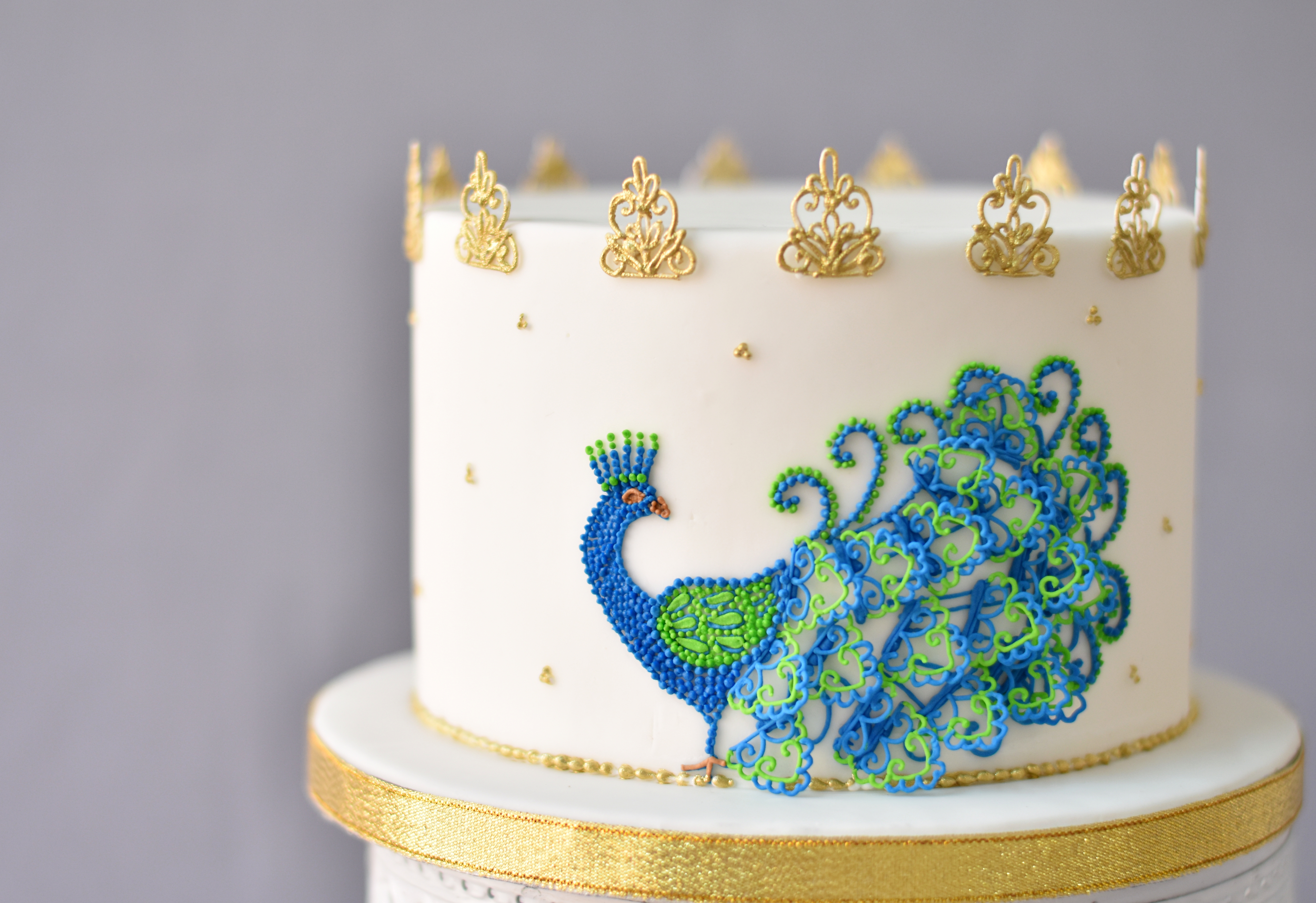 Astonishing Royal Icing Peacock Cake Personalised Birthday Cards Veneteletsinfo